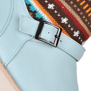 Colour Block Knitting Buckle Srap Snow Boots -
