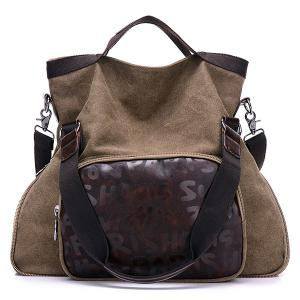 PU Leather Insert Letter Print Canvas Shoulder Bag - Light Coffee - 38