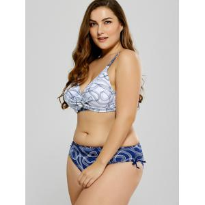 Plus Size Stretchy Printed Bikini - WHITE XL