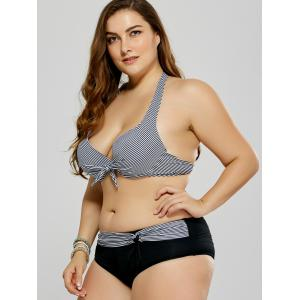 Plus Size Striped Halter Bikini - BLACK 2XL