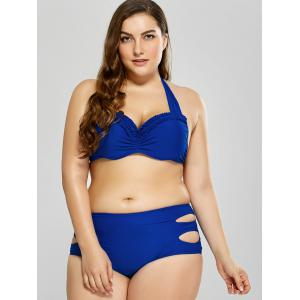 Plus Size Cutout Ruffle Underwire Halter Bikini Set - BLUE 3XL
