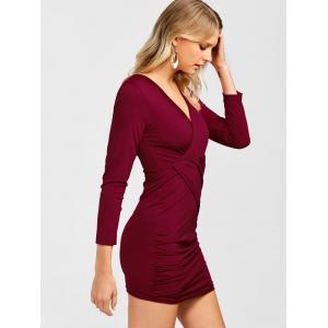 Ruched Surplice Long Sleeve V Neck Mini Bodycon Dress - WINE RED M