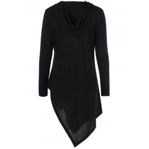 Hooded Asymmetrical Long Sleeve Tee - BLACK M