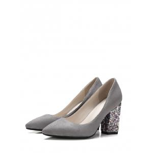 Glitter Sequined Pointed Toe Pumps - GRAY 39