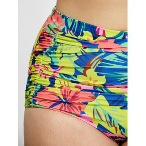 Plus Size Floral Shirred High Waist Bikini - YELLOW 2XL