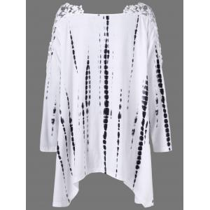 Plus Size Asymmetrical Lace Insert Tie  Dye Tee - WHITE XL