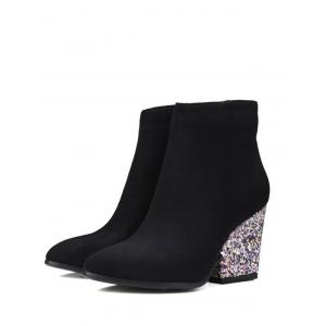 Zipper Glitter Chunky Heel Ankle Boots -