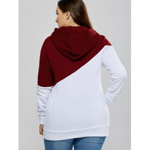 Plus Size Color Block Pullover Hoodie with Pocket -