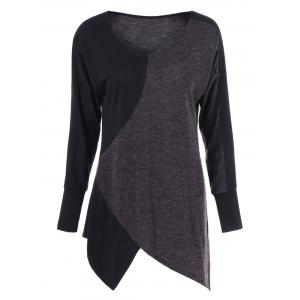 Two Tone Long Sleeve Asymmetrical Tee