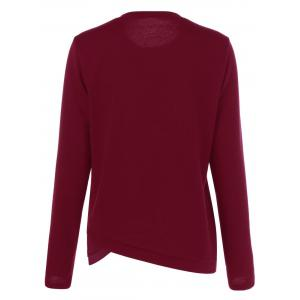 Asymmetrical Button Long Sleeve T-Shirt - DARK RED M