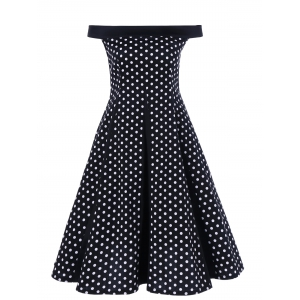 Off The Shoulder Polka Dot Vintage Dress
