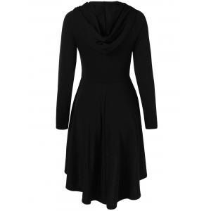 High Low Hooded Fit and Flare Dress - BLACK M