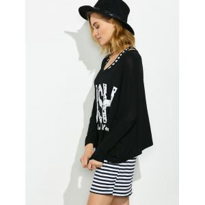 Striped Tank Dress With Graphic Tee - BLACK ONE SIZE