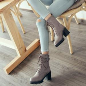 Block Heel Buckles Lace Up Ankle Boots -