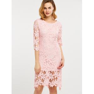 Hollow Out Lace Knee Length Dress -