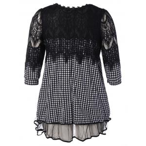 Plus Size Lace Insert Houndstooth Mini Dress -