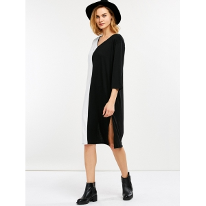 Casual Color Block Side Slit Straight Dress -