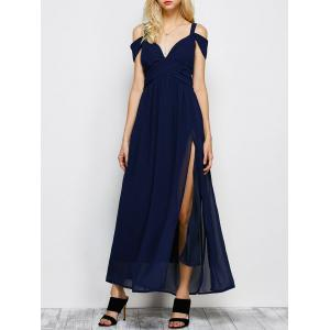 Cold Shoulder Chiffon Split Maxi Long Evening Dress