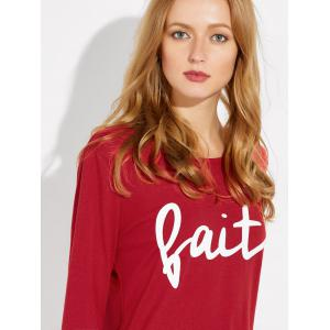 Long Sleeve Letter Print Loose Tee - RED XL