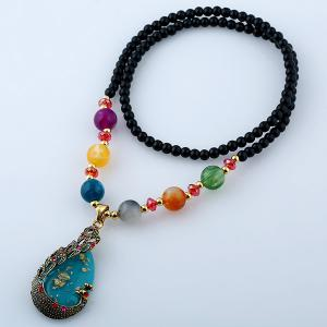 Waterdrop Rhinestone Inlay Peacock Pendant Beaded Necklace -