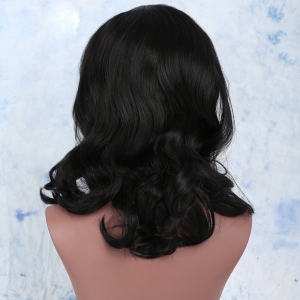 Medium Synthetic Centre Parting Curly Wig - BLACK