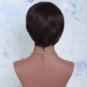 Spiffy Short Synthetic Side Bang Straight Wig - DARK RED