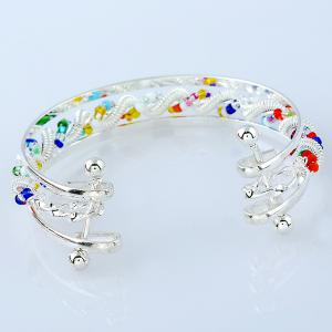 Hollow Out Beaded Twisted Spring Cuff Bracelet -
