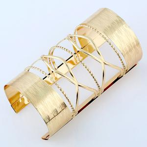 Hollow Out Cable Wire Open Cuff Long Bracelet - GOLDEN