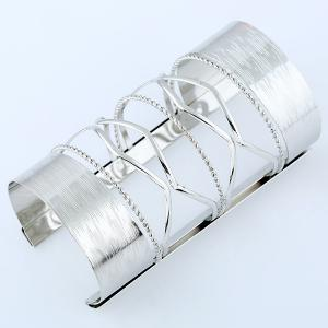 Hollow Out Cable Wire Open Cuff Long Bracelet