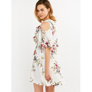 Floral Print Flounce Cold Shoulder Dress -