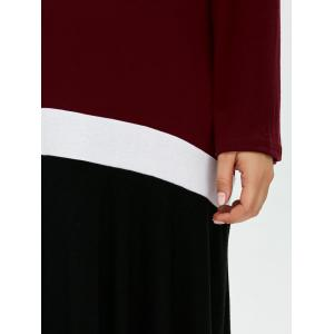 Plus Size Color Block Long Sleeve Smock Dress - BLACK AND WHITE AND RED 4XL