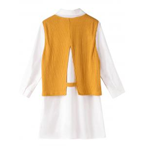Knit Ribbed Vest Shirt Fake Twinset Combo - GINGER 5XL