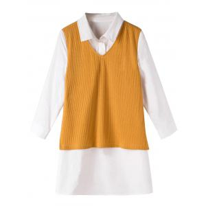 Plus Size Vest Shirt Fake Twinset Combo