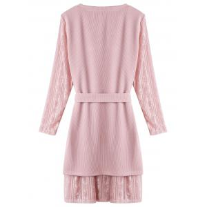 Lace Insert Plus Size Layered Sweater Dress - PINK 5XL