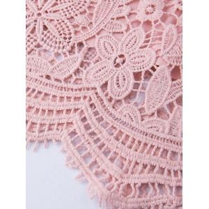 Plus Size Scalloped Lace Long Sleeve Dress - PINK 4XL