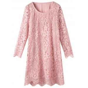 Plus Size Scalloped Lace Long Sleeve Dress