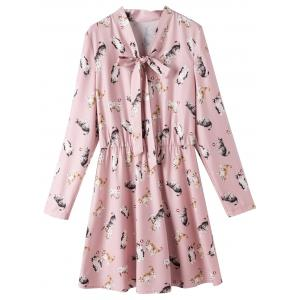 Bowtie Collar Plus Size Cat Print Dress