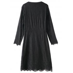 Plus Size Lace Scalloped Dress with Girl Applique - BLACK 5XL