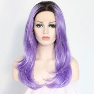 Long Centre Parting Layered Tail Adduction Lace Front Synthetic Wig -