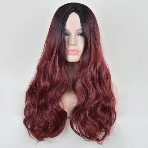 Faddish Long Middle Part Wavy Lace Front Synthetic Wig - RED/BLACK