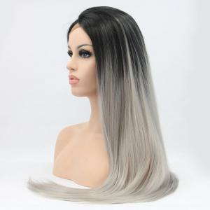 Faddish Long Straight Ombre Color Lace Front Synthetic Wig -