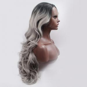 Fascinating Double Color Long Side Parting Wavy Lace Front Synthetic Wig -
