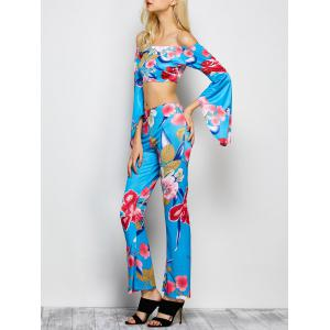Bell Sleeve Floral Crop Top with Pants