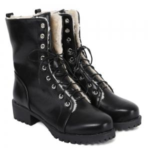 Platform Tie Up PU Leather Short Boots - BLACK 39