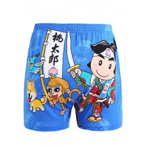 Chinese Character Cartoon Print Elastic Waist Shorts -