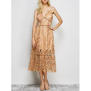 Hollow Out Lace Nude Slip Dress -