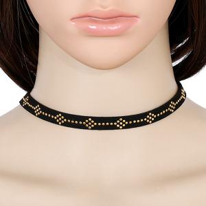 Faux Leather Geometric Rivets Choker Necklace