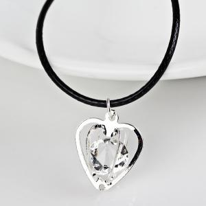 Rhinestone Heart PU Leather Rope Necklace - Silver