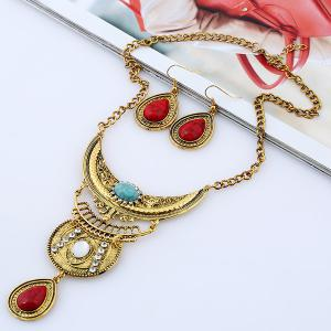 Vintage Rhinestone Teardrop Necklace and Earrings - COLORMIX