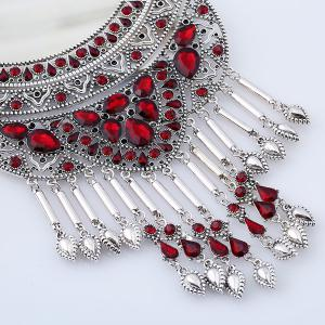 Artificial Ruby Teardrop Necklace and Earrings -
